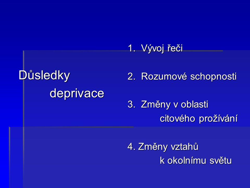Důsledky Důsledky deprivace deprivace 1. Vývoj řeči 2.