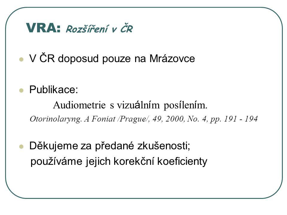 VRA: Rozšíření v ČR V ČR doposud pouze na Mrázovce Publikace: Audiometrie s vizu á ln í m pos í len í m.