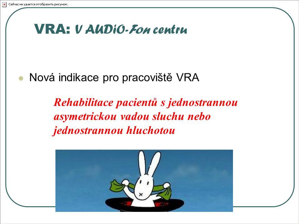 VRA: V AUDiO-Fon centru Nová indikace pro pracoviště VRA Rehabilitace pacientů s jednostrannou asymetrickou vadou sluchu nebo jednostrannou hluchotou