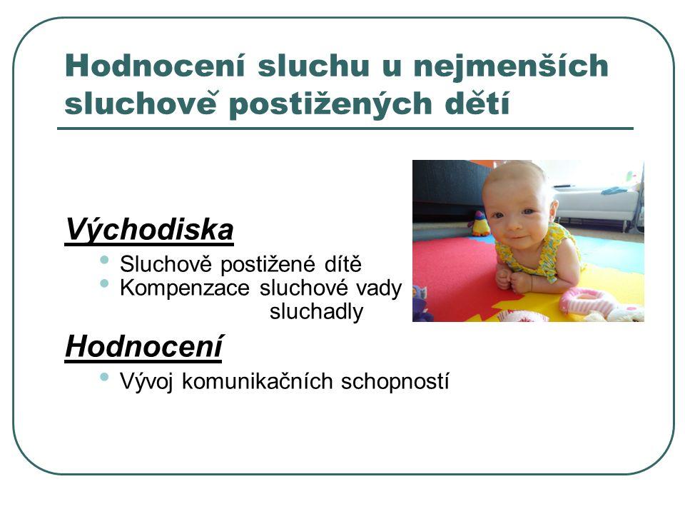 Hodnocení sluchu u nejmenších sluchove postižených detí Východiska Sluchově postižené dítě Kompenzace sluchové vady sluchadly Hodnocení Vývoj komunikačních schopností
