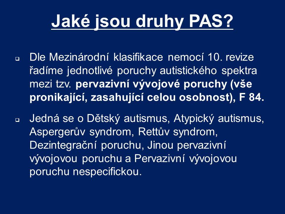 Jaké jsou druhy PAS?  Dle Mezinárodní klasifikace nemocí 10. revize řadíme jednotlivé poruchy autistického spektra mezi tzv. pervazivní vývojové poru