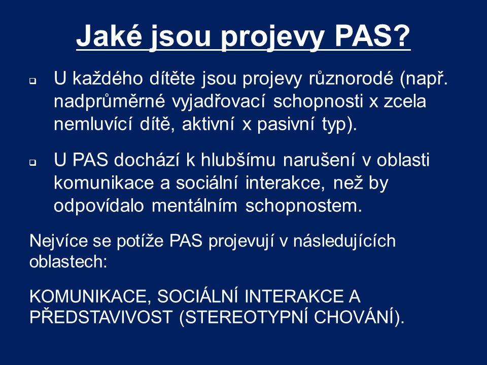 Jaké jsou projevy PAS?  U každého dítěte jsou projevy různorodé (např. nadprůměrné vyjadřovací schopnosti x zcela nemluvící dítě, aktivní x pasivní t