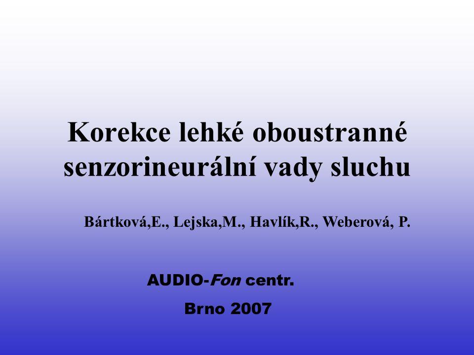 Současná definice lehké senzorineurální vady sluchu Trvalá vada oboustranná = práh sluchu na fr.