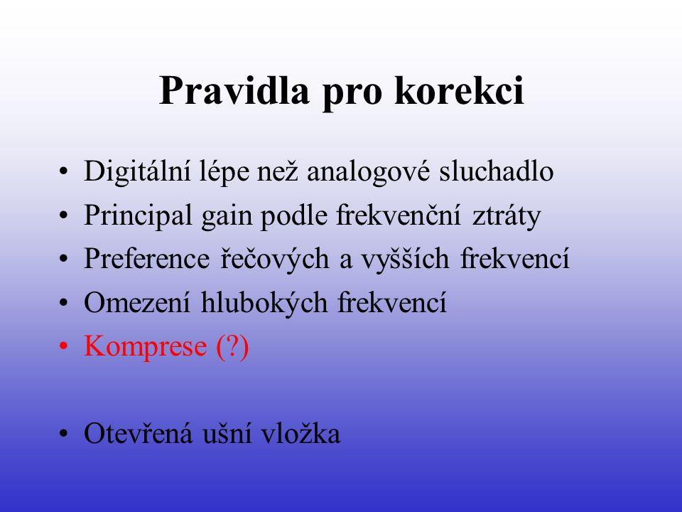 Pravidla pro korekci Digitální lépe než analogové sluchadlo Principal gain podle frekvenční ztráty Preference řečových a vyšších frekvencí Omezení hlubokých frekvencí Komprese ( ) Otevřená ušní vložka