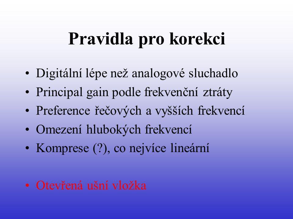 Pravidla pro korekci Digitální lépe než analogové sluchadlo Principal gain podle frekvenční ztráty Preference řečových a vyšších frekvencí Omezení hlubokých frekvencí Komprese ( ), co nejvíce lineární Otevřená ušní vložka