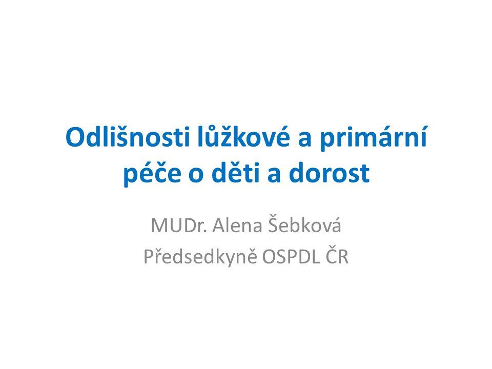 Odlišnosti lůžkové a primární péče o děti a dorost MUDr. Alena Šebková Předsedkyně OSPDL ČR