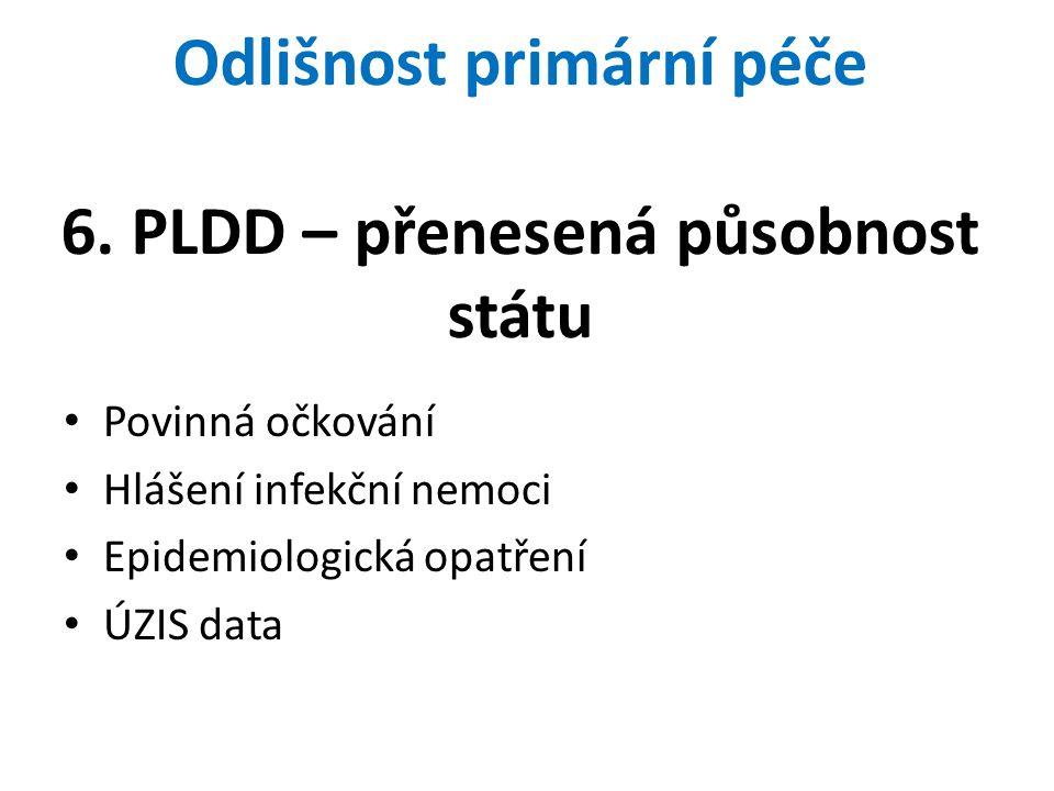 Odlišnost primární péče 6. PLDD – přenesená působnost státu Povinná očkování Hlášení infekční nemoci Epidemiologická opatření ÚZIS data