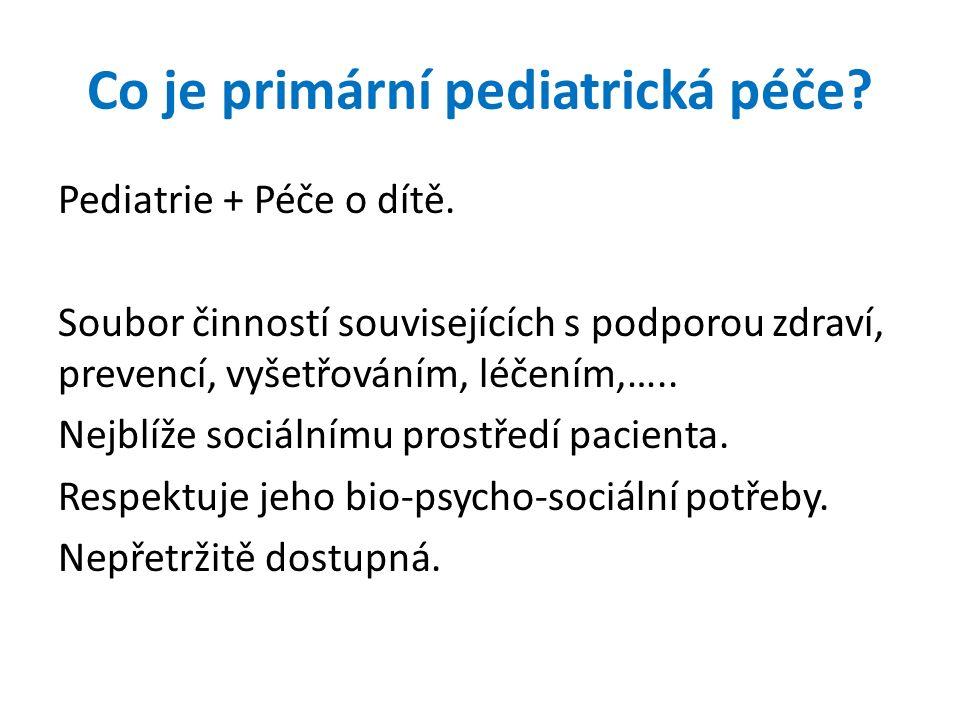 Co je primární pediatrická péče? Pediatrie + Péče o dítě. Soubor činností souvisejících s podporou zdraví, prevencí, vyšetřováním, léčením,….. Nejblíž
