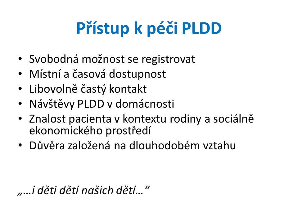 Přístup k péči PLDD Svobodná možnost se registrovat Místní a časová dostupnost Libovolně častý kontakt Návštěvy PLDD v domácnosti Znalost pacienta v k