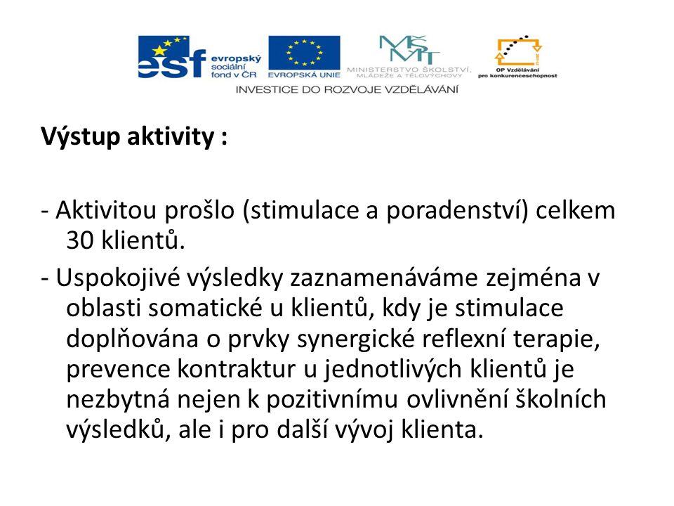 Výstup aktivity : - Aktivitou prošlo (stimulace a poradenství) celkem 30 klientů.