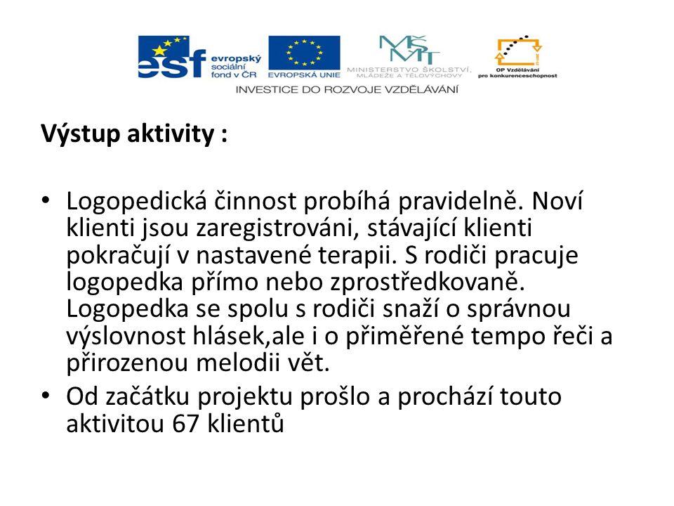 Výstup aktivity : Logopedická činnost probíhá pravidelně.