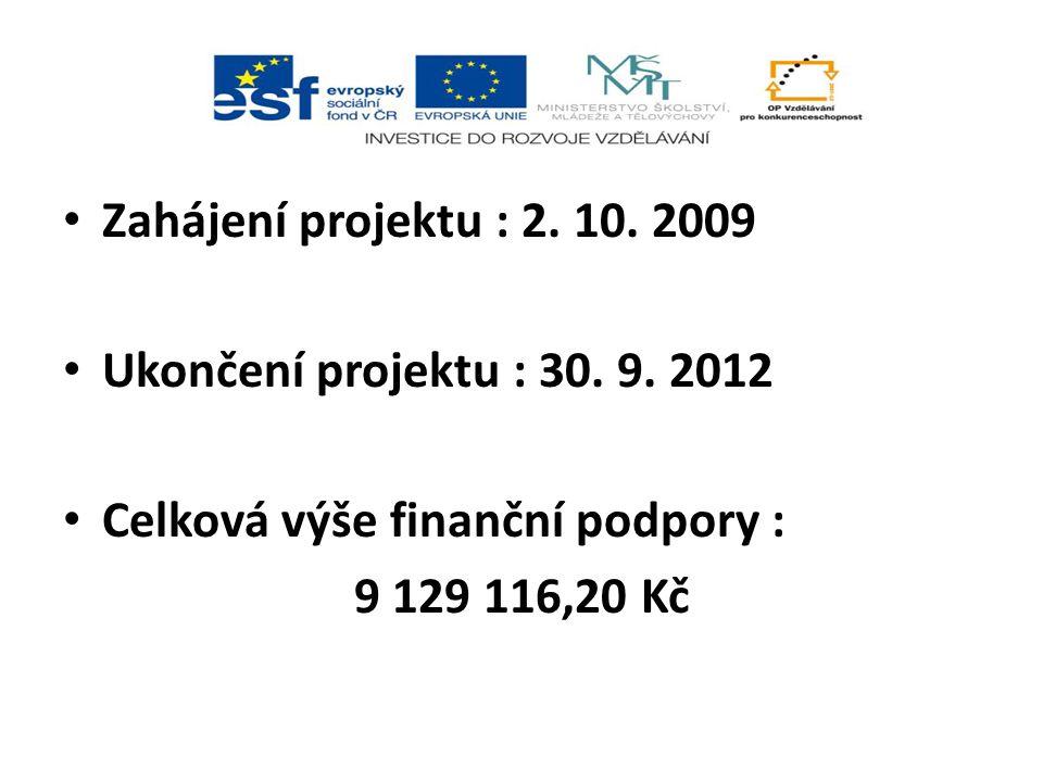Zahájení projektu : 2. 10. 2009 Ukončení projektu : 30.