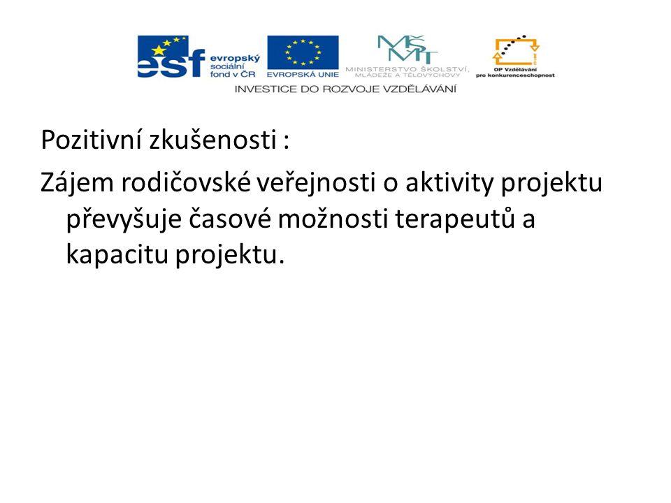 Pozitivní zkušenosti : Zájem rodičovské veřejnosti o aktivity projektu převyšuje časové možnosti terapeutů a kapacitu projektu.