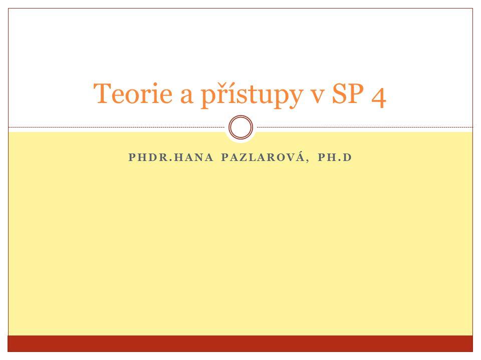 PHDR.HANA PAZLAROVÁ, PH.D Teorie a přístupy v SP 4