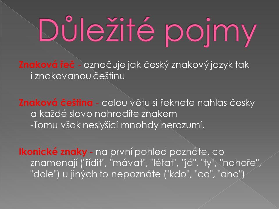 Znaková řeč - označuje jak český znakový jazyk tak i znakovanou češtinu Znaková čeština - celou větu si řeknete nahlas česky a každé slovo nahradíte znakem -Tomu však neslyšící mnohdy nerozumí.