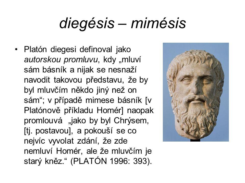 """diegésis – mimésis Platón diegesi definoval jako autorskou promluvu, kdy """"mluví sám básník a nijak se nesnaží navodit takovou představu, že by byl mluvčím někdo jiný než on sám ; v případě mimese básník [v Platónově příkladu Homér] naopak promlouvá """"jako by byl Chrýsem, [tj."""