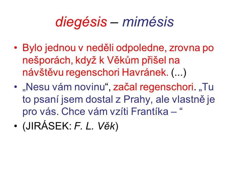 diegésis – mimésis Bylo jednou v neděli odpoledne, zrovna po nešporách, když k Věkům přišel na návštěvu regenschori Havránek.