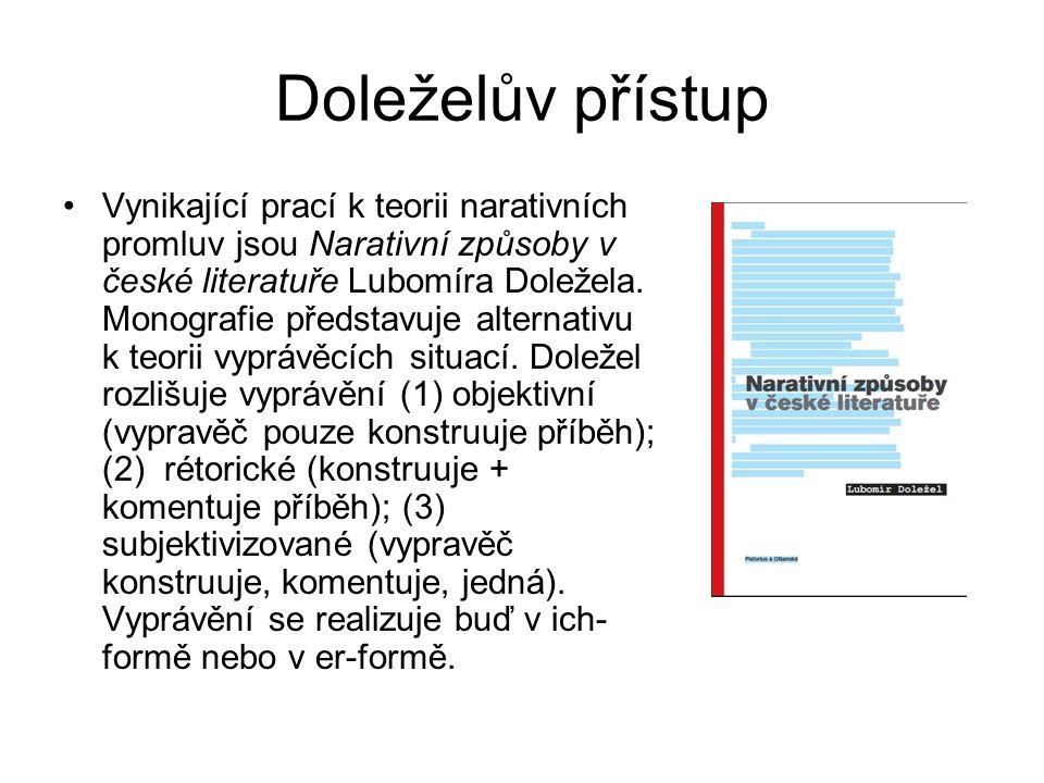Doleželův přístup Vynikající prací k teorii narativních promluv jsou Narativní způsoby v české literatuře Lubomíra Doležela.
