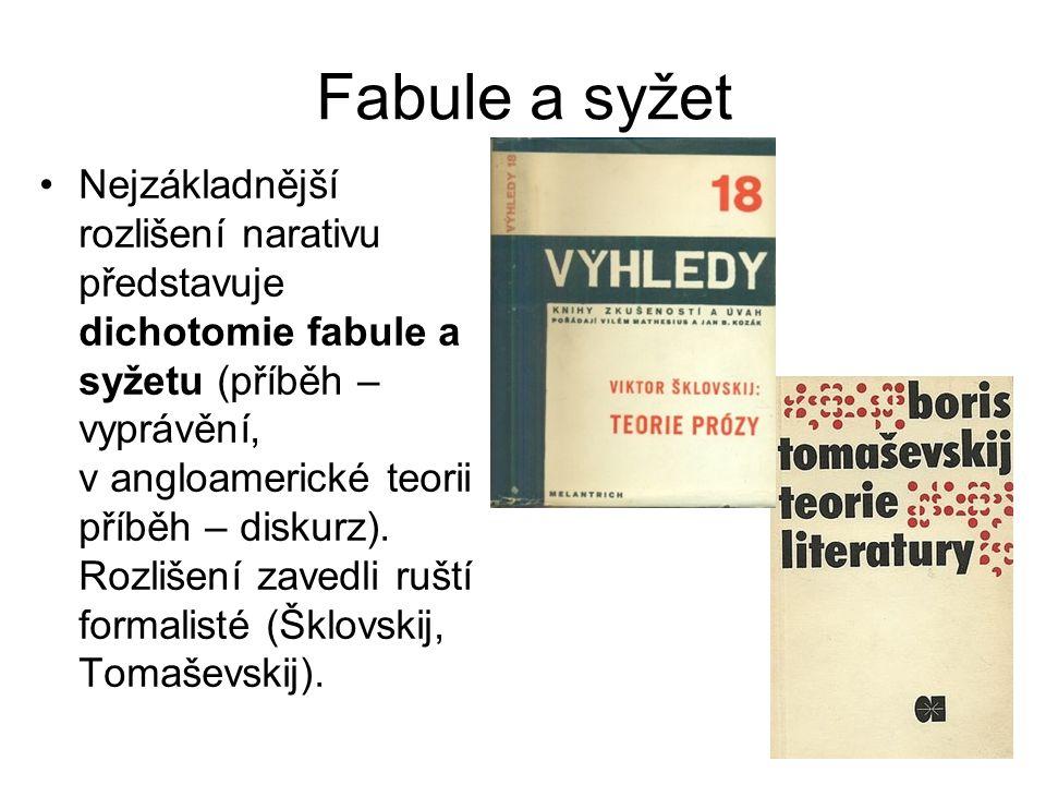 Fabule a syžet Nejzákladnější rozlišení narativu představuje dichotomie fabule a syžetu (příběh – vyprávění, v angloamerické teorii příběh – diskurz).