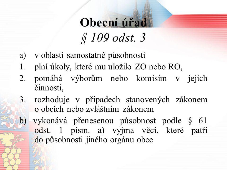 Obecní úřad § 109 odst.
