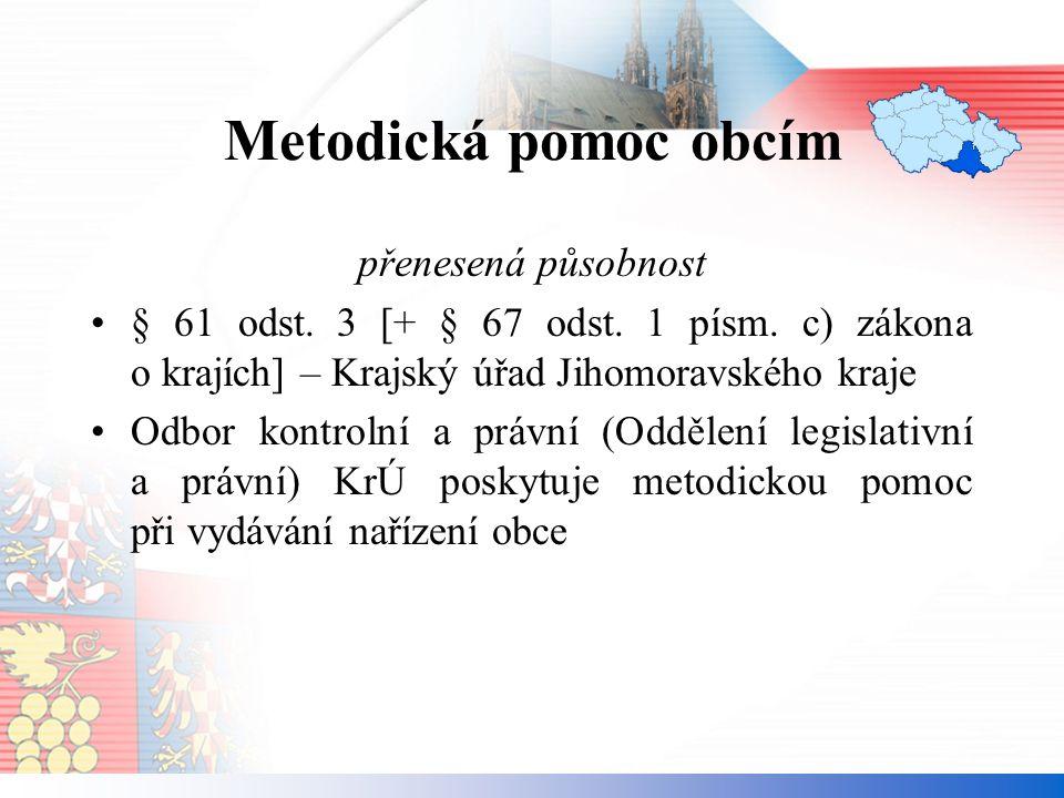 Metodická pomoc obcím přenesená působnost § 61 odst.