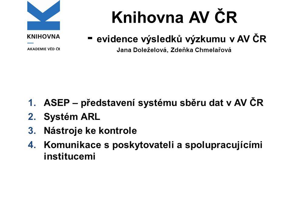 Knihovna AV ČR - evidence výsledků výzkumu v AV ČR Jana Doleželová, Zdeňka Chmelařová 1.