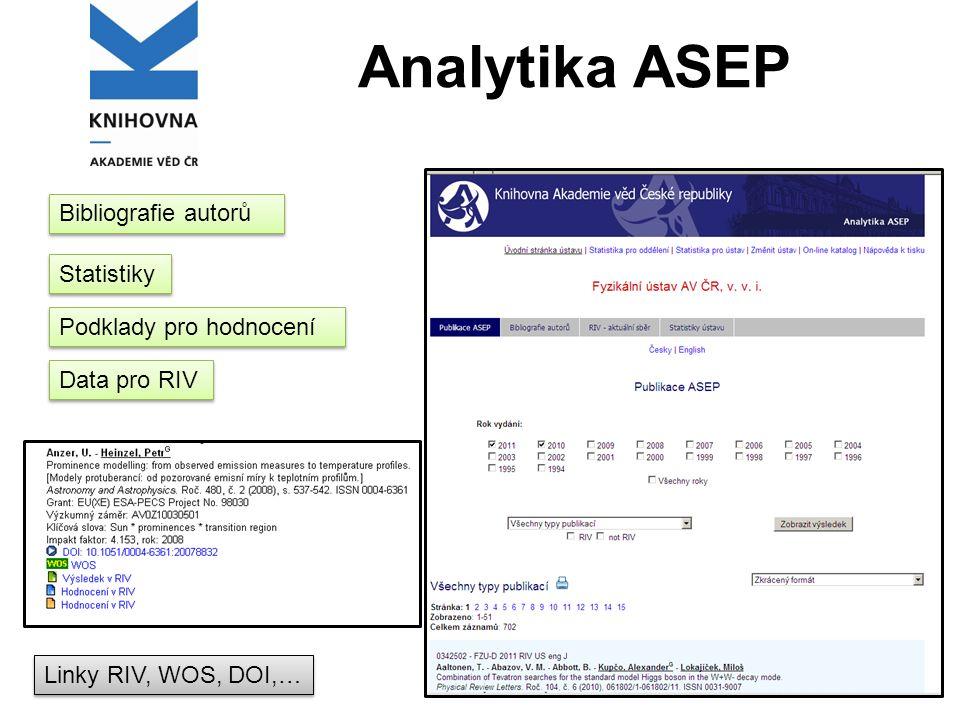 Analytika ASEP Statistiky Bibliografie autorů Podklady pro hodnocení Data pro RIV Linky RIV, WOS, DOI,…