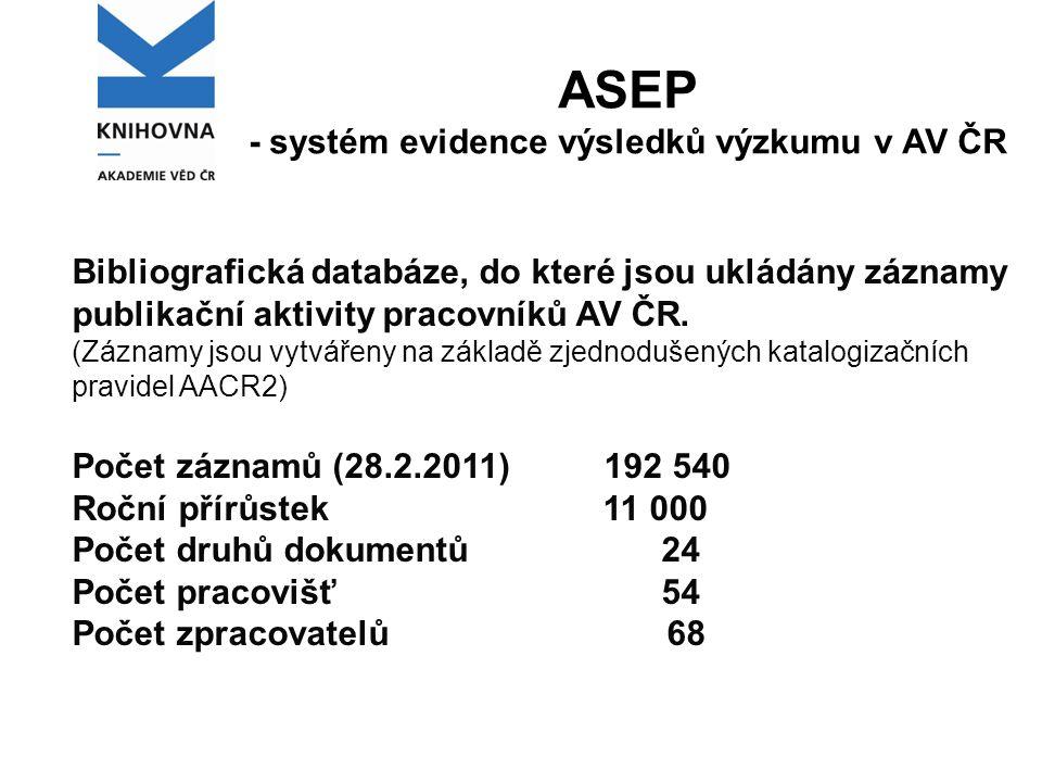 ASEP - systém evidence výsledků výzkumu v AV ČR Bibliografická databáze, do které jsou ukládány záznamy publikační aktivity pracovníků AV ČR.