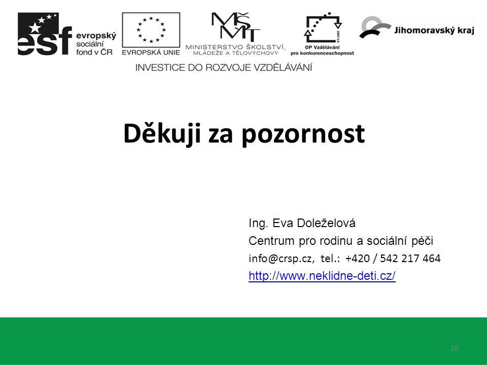 Ing. Eva Doleželová Centrum pro rodinu a sociální péči info@crsp.cz, tel.: +420 / 542 217 464 http://www.neklidne-deti.cz/ 10 Děkuji za pozornost