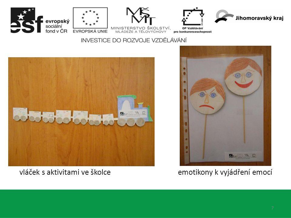 7 vláček s aktivitami ve školce emotikony k vyjádření emocí