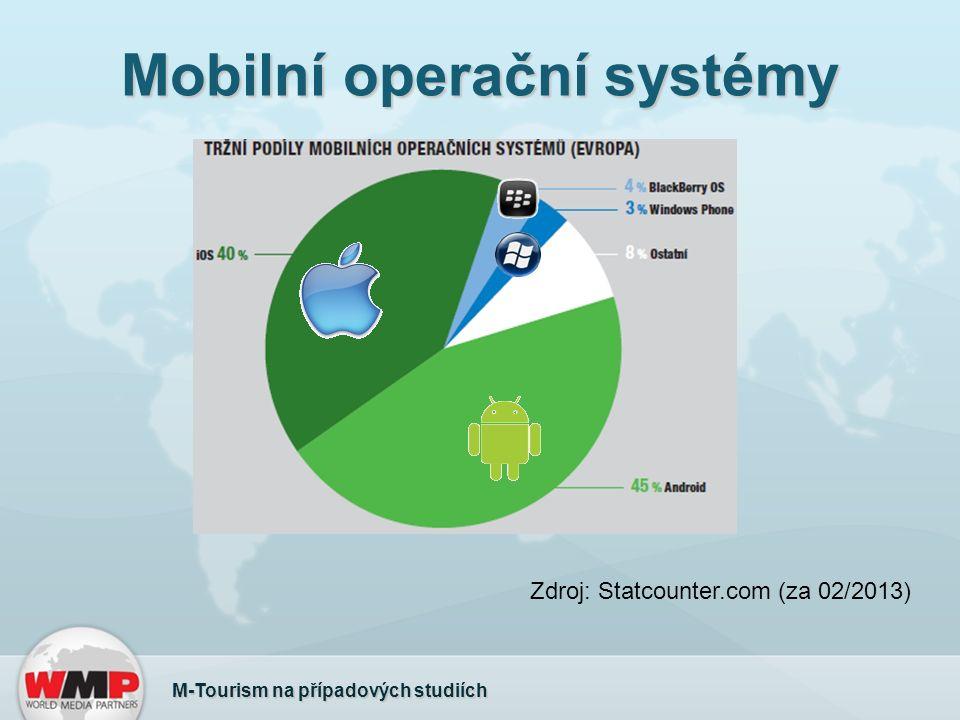 Mobilní operační systémy M-Tourism na případových studiích Zdroj: Statcounter.com (za 02/2013)