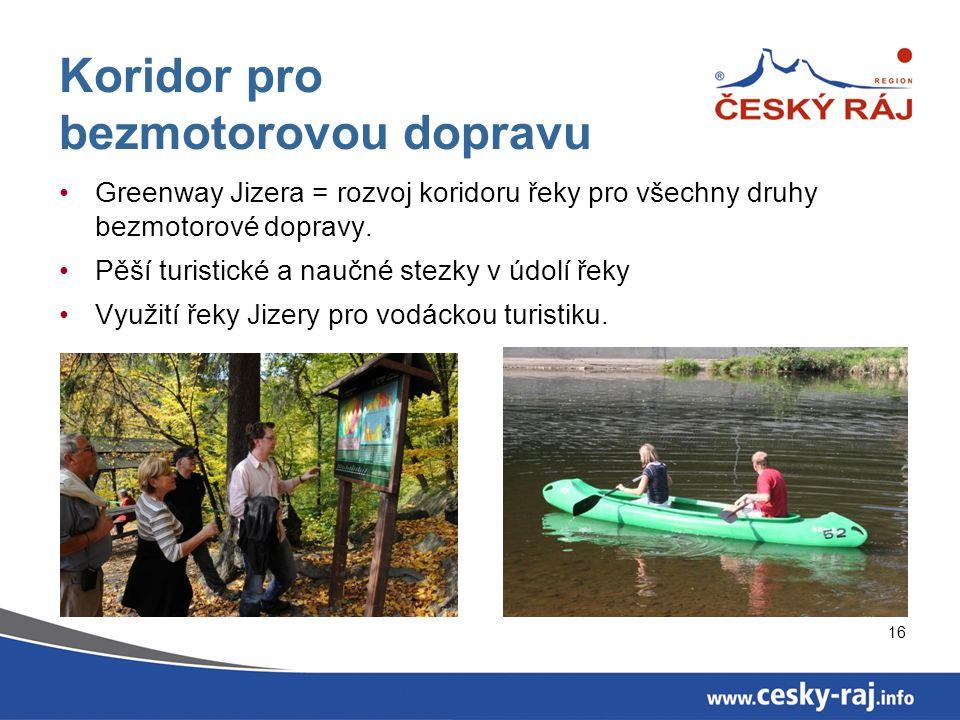 16 Koridor pro bezmotorovou dopravu Greenway Jizera = rozvoj koridoru řeky pro všechny druhy bezmotorové dopravy.