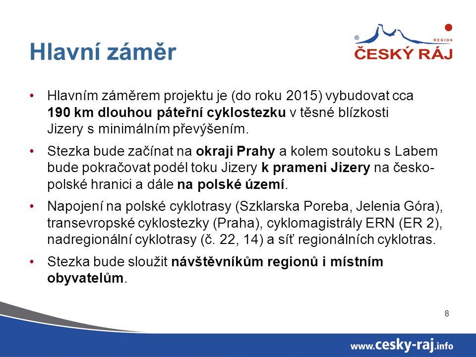 8 Hlavní záměr Hlavním záměrem projektu je (do roku 2015) vybudovat cca 190 km dlouhou páteřní cyklostezku v těsné blízkosti Jizery s minimálním převýšením.