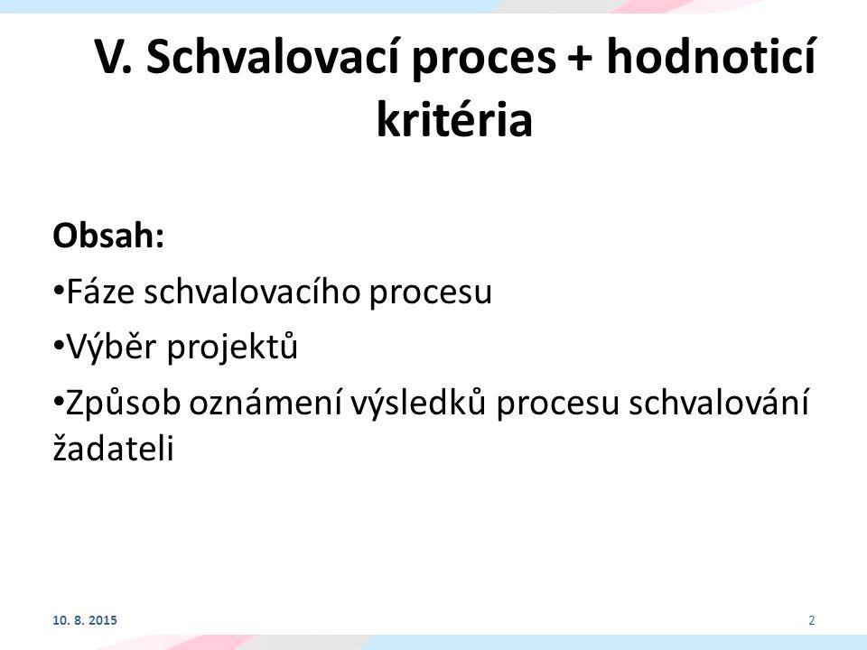 V. Schvalovací proces + hodnoticí kritéria Obsah: Fáze schvalovacího procesu Výběr projektů Způsob oznámení výsledků procesu schvalování žadateli 10.