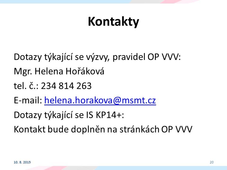 Kontakty Dotazy týkající se výzvy, pravidel OP VVV: Mgr.