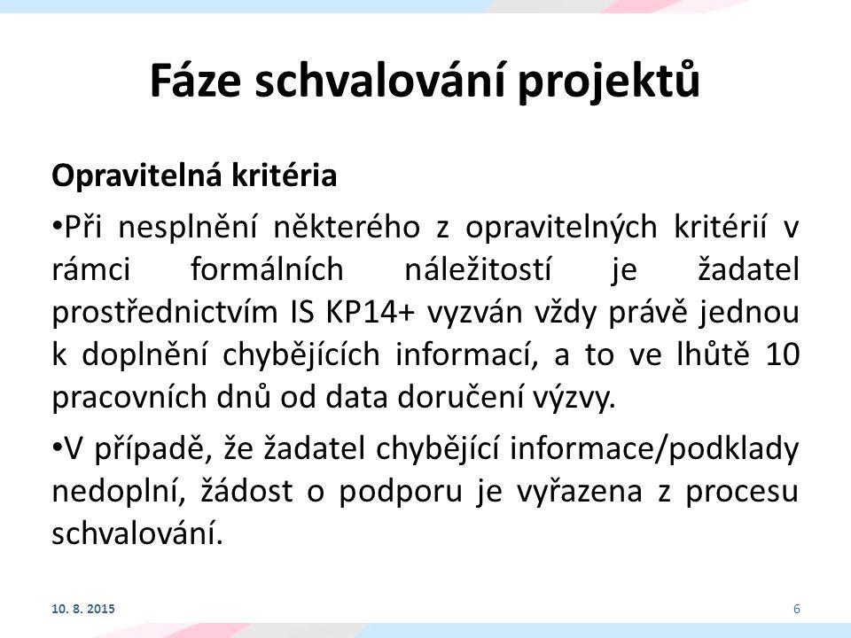 Fáze schvalování projektů Neopravitelná kritéria Při nesplnění některého z neopravitelných kritérií formálních náležitostí a/nebo jakéhokoli kritéria přijatelnosti je projekt vyřazen: -Žádost o podporu byla podána v předepsané formě (F1) -Předpokládaná doba realizace projektu je v souladu s podmínkami výzvy (F8) -Projekt respektuje minimální a maximální hranici celkových způsobilých výdajů stanovenou výzvou (F9) -Projekt respektuje finanční limity rozpočtu v rámci dané výzvy (F10) -Výše vlastních zdrojů žadatele v přehledu financování je uvedena v souladu s výzvou (F11) -Finanční zdraví žadatele (F12) 10.