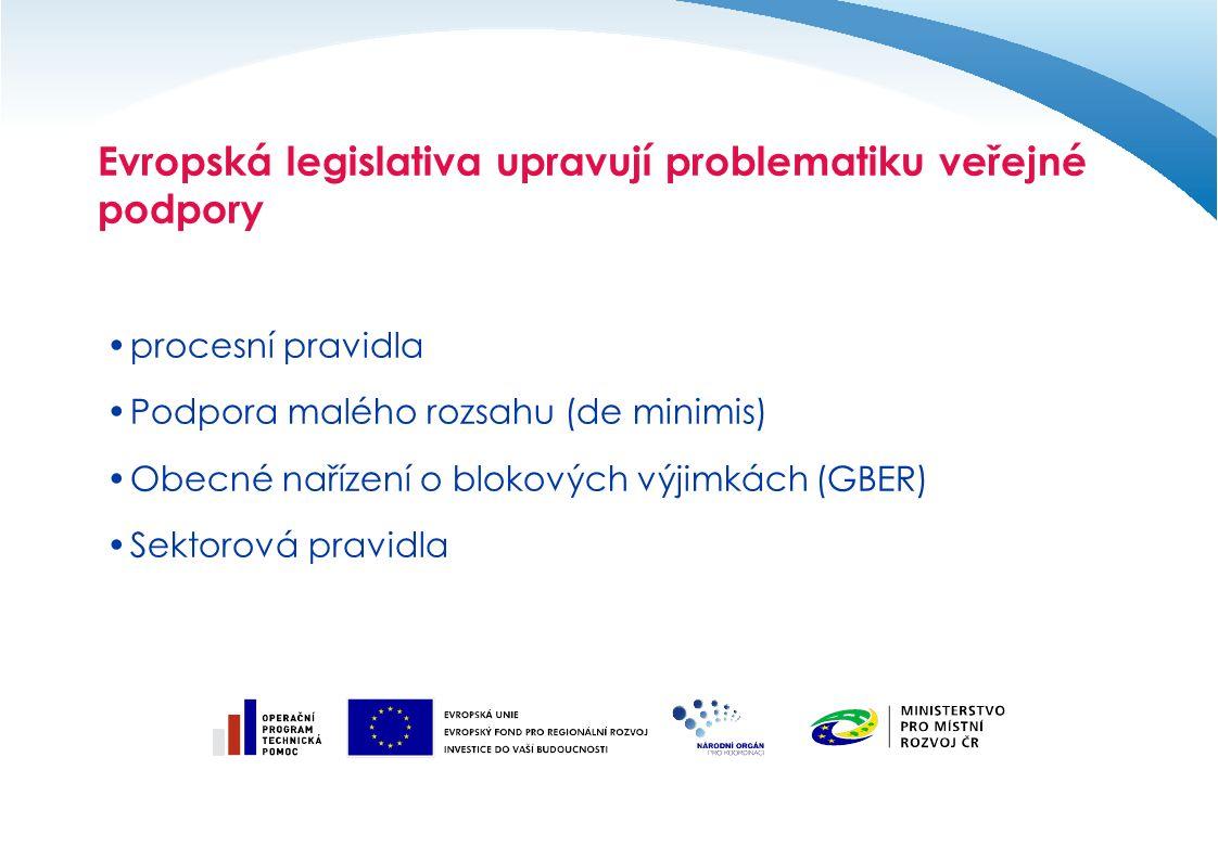 Evropská legislativa upravují problematiku veřejné podpory procesní pravidla Podpora malého rozsahu (de minimis) Obecné nařízení o blokových výjimkách (GBER) Sektorová pravidla