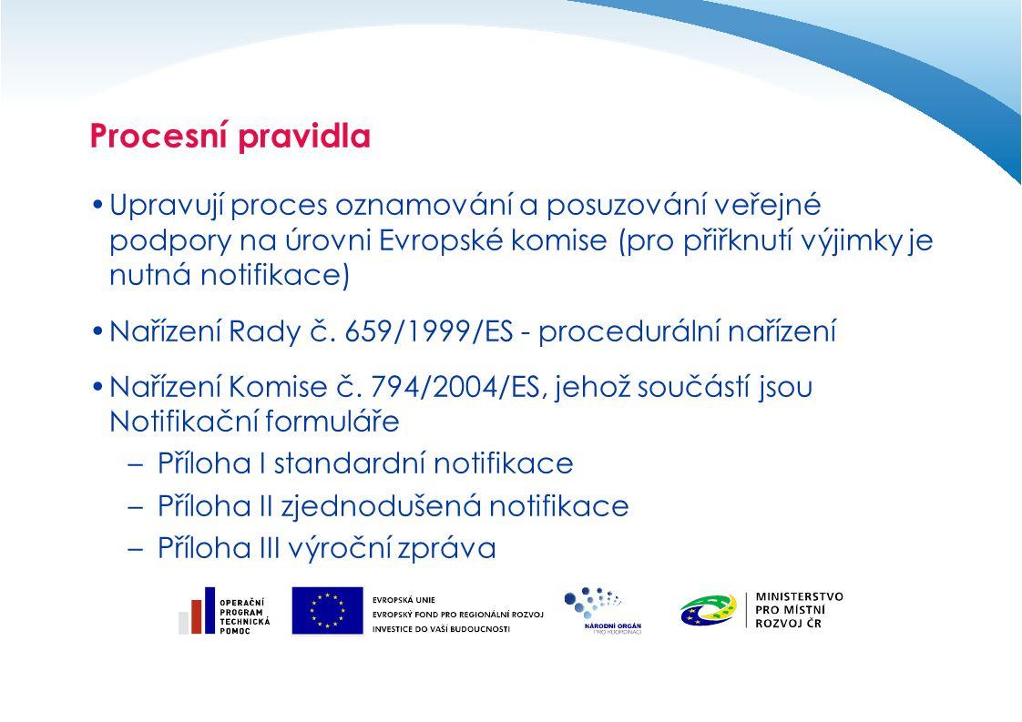 Procesní pravidla Upravují proces oznamování a posuzování veřejné podpory na úrovni Evropské komise (pro přiřknutí výjimky je nutná notifikace) Nařízení Rady č.