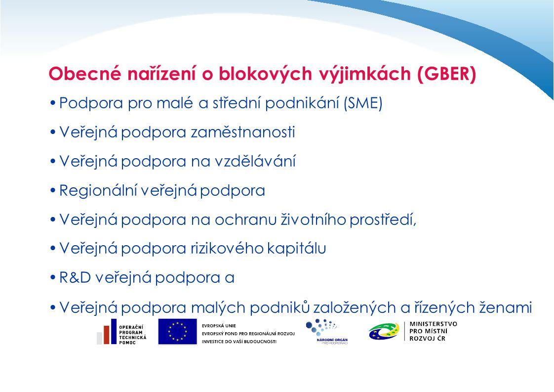 Obecné nařízení o blokových výjimkách (GBER) Podpora pro malé a střední podnikání (SME) Veřejná podpora zaměstnanosti Veřejná podpora na vzdělávání Regionální veřejná podpora Veřejná podpora na ochranu životního prostředí, Veřejná podpora rizikového kapitálu R&D veřejná podpora a Veřejná podpora malých podniků založených a řízených ženami