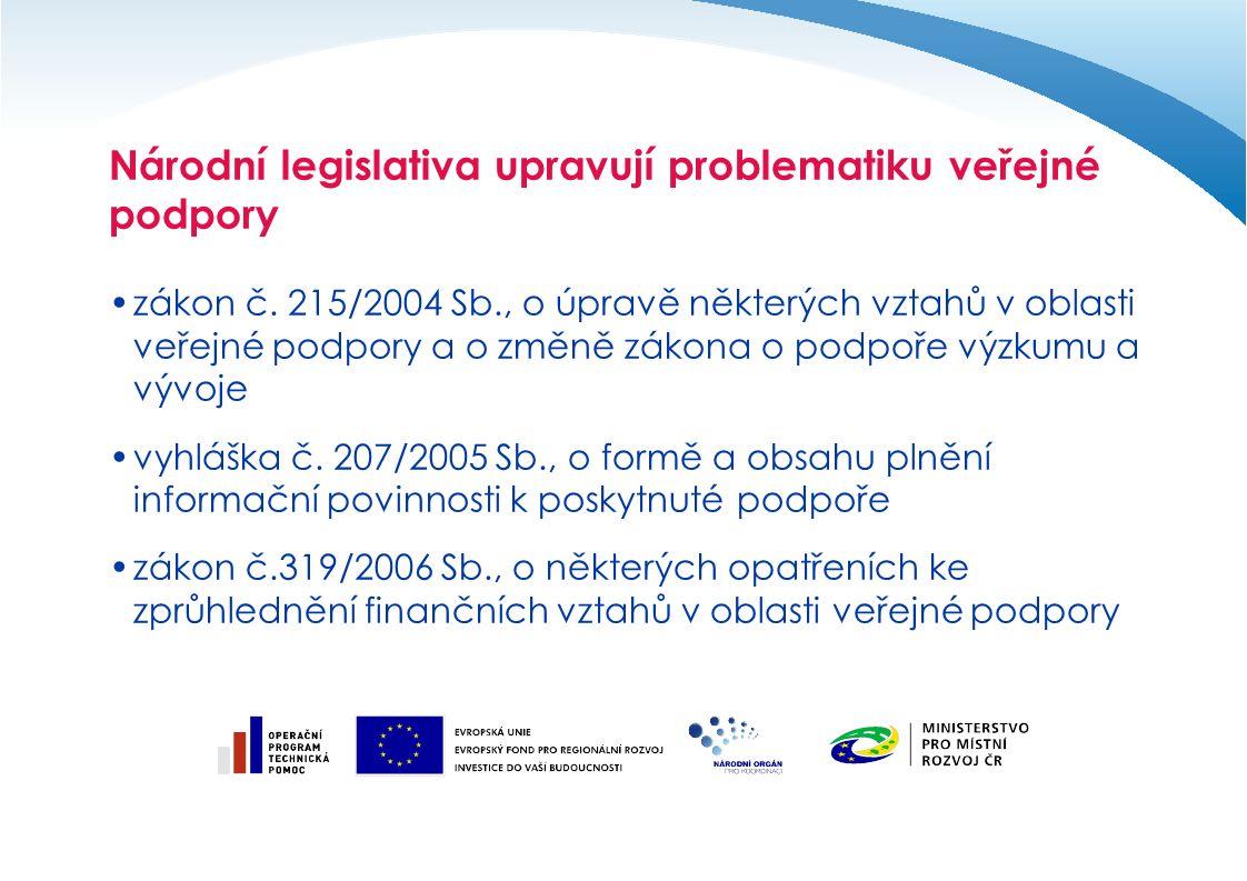 Národní legislativa upravují problematiku veřejné podpory zákon č.