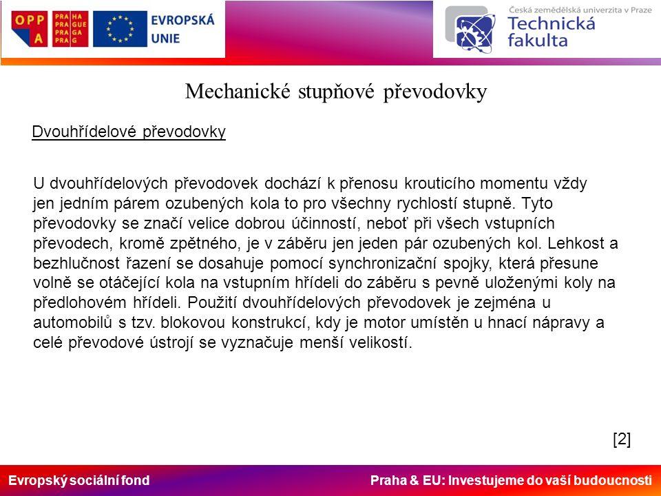Evropský sociální fond Praha & EU: Investujeme do vaší budoucnosti Mechanické stupňové převodovky Dvouhřídelové převodovky U dvouhřídelových převodove