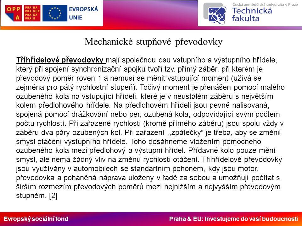 Evropský sociální fond Praha & EU: Investujeme do vaší budoucnosti Mechanické stupňové převodovky Tříhřídelové převodovky mají společnou osu vstupního a výstupního hřídele, který při spojení synchronizační spojku tvoří tzv.