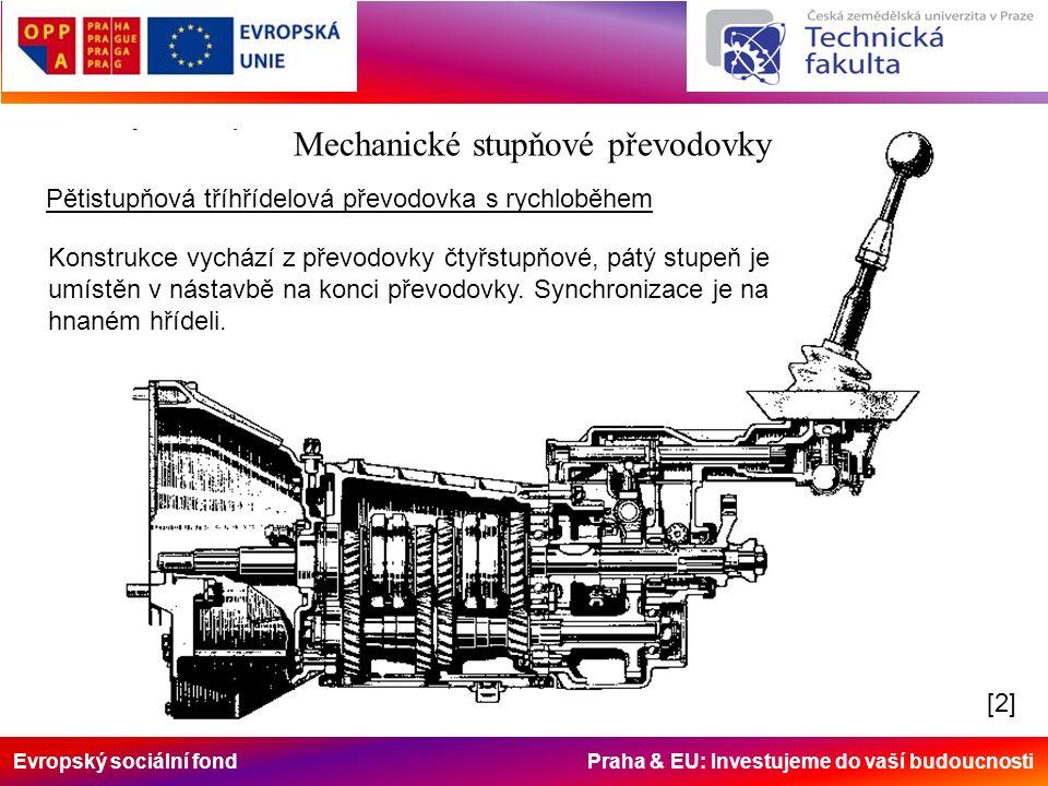 Evropský sociální fond Praha & EU: Investujeme do vaší budoucnosti Mechanické stupňové převodovky Pětistupňová tříhřídelová převodovka s rychloběhem Konstrukce vychází z převodovky čtyřstupňové, pátý stupeň je umístěn v nástavbě na konci převodovky.