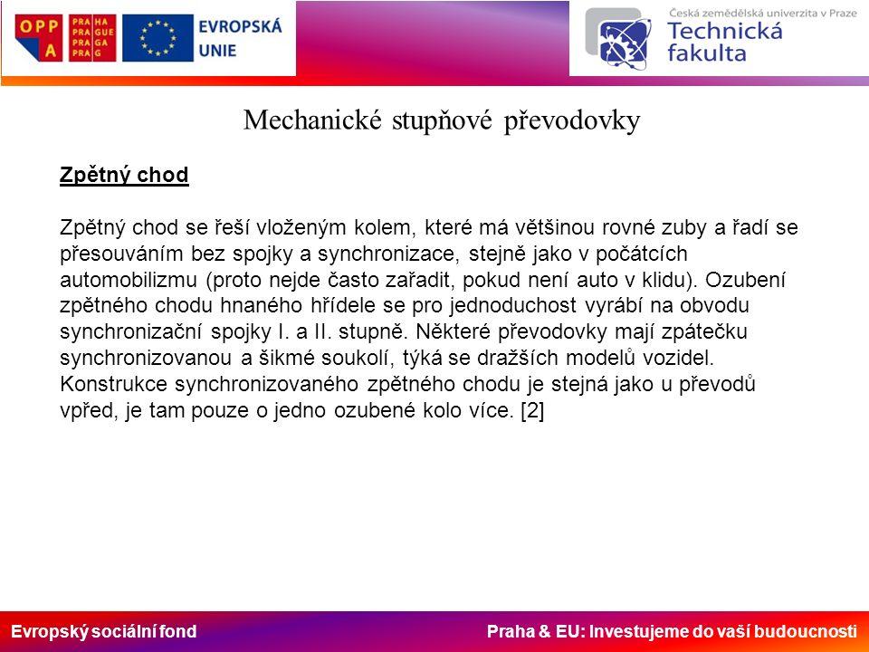 Evropský sociální fond Praha & EU: Investujeme do vaší budoucnosti Mechanické stupňové převodovky Zpětný chod Zpětný chod se řeší vloženým kolem, které má většinou rovné zuby a řadí se přesouváním bez spojky a synchronizace, stejně jako v počátcích automobilizmu (proto nejde často zařadit, pokud není auto v klidu).