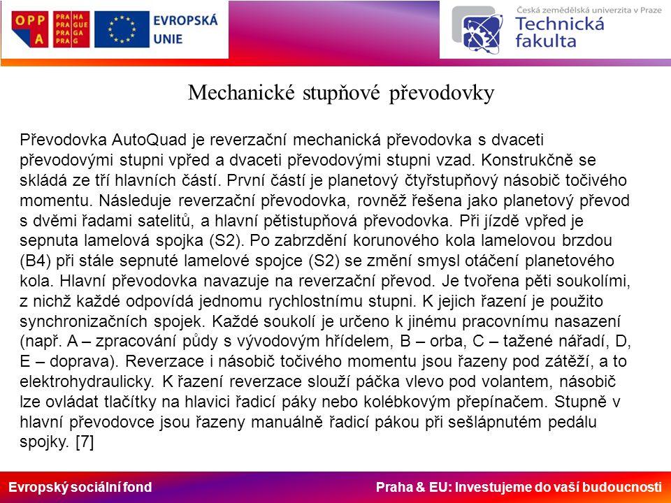 Evropský sociální fond Praha & EU: Investujeme do vaší budoucnosti Mechanické stupňové převodovky Převodovka AutoQuad je reverzační mechanická převodovka s dvaceti převodovými stupni vpřed a dvaceti převodovými stupni vzad.