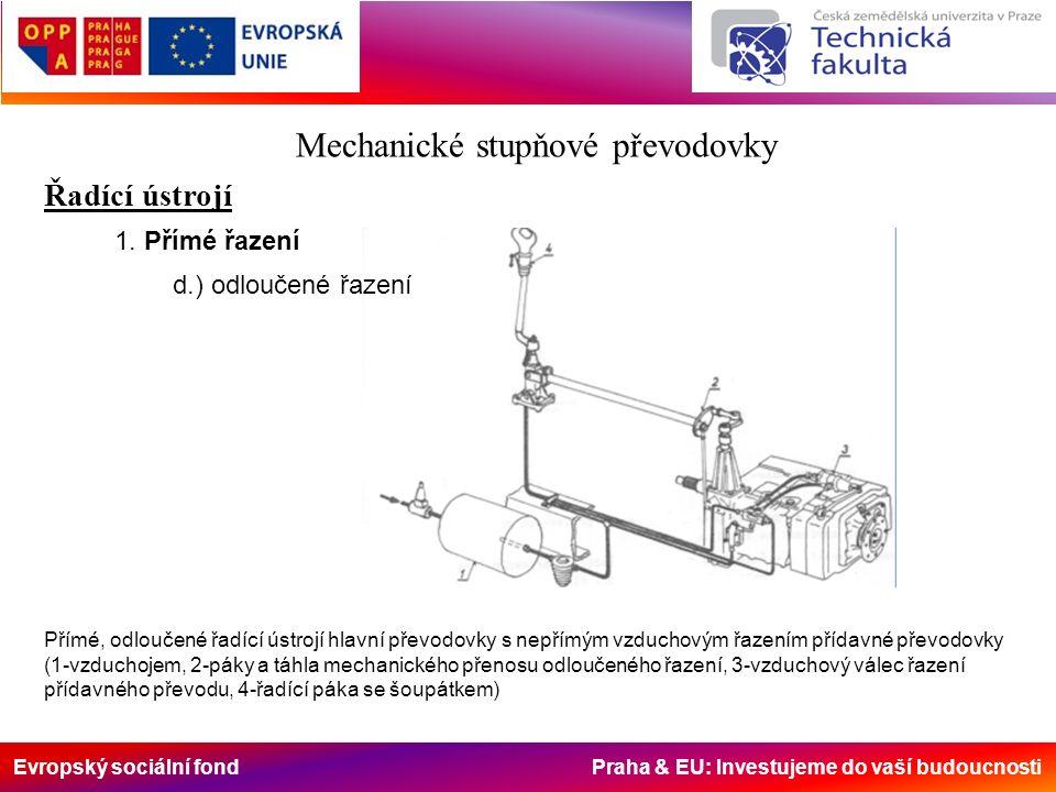 Evropský sociální fond Praha & EU: Investujeme do vaší budoucnosti Mechanické stupňové převodovky Řadící ústrojí 1. Přímé řazení d.) odloučené řazení