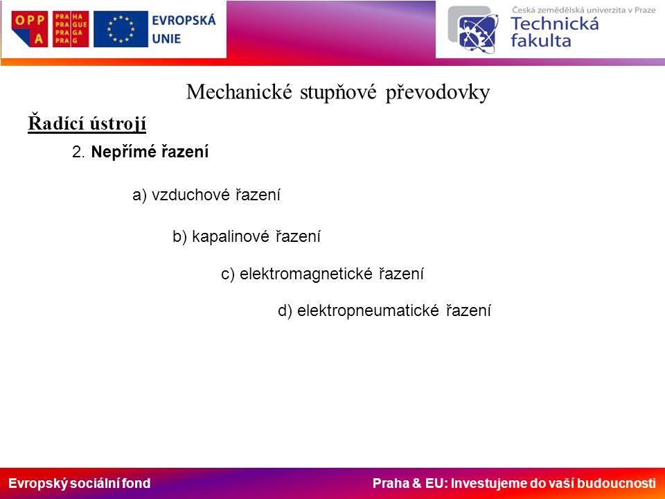 Evropský sociální fond Praha & EU: Investujeme do vaší budoucnosti Mechanické stupňové převodovky Řadící ústrojí 2. Nepřímé řazení a) vzduchové řazení