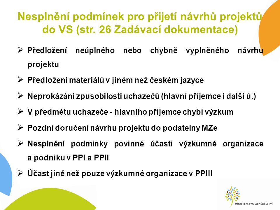 Nesplnění podmínek pro přijetí návrhů projektů do VS (str.