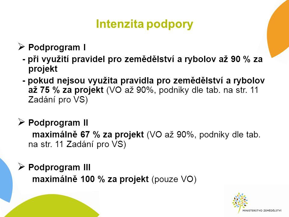 Intenzita podpory  Podprogram I - při využití pravidel pro zemědělství a rybolov až 90 % za projekt - pokud nejsou využita pravidla pro zemědělství a rybolov až 75 % za projekt (VO až 90%, podniky dle tab.