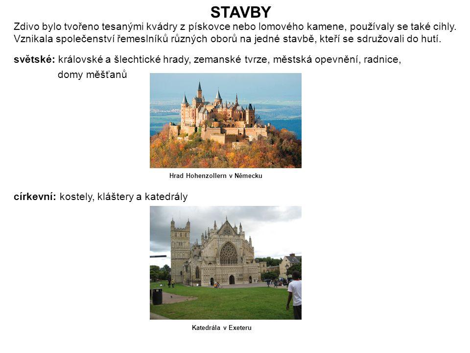 STAVBY světské: královské a šlechtické hrady, zemanské tvrze, městská opevnění, radnice, domy měšťanů církevní: kostely, kláštery a katedrály Hrad Hoh